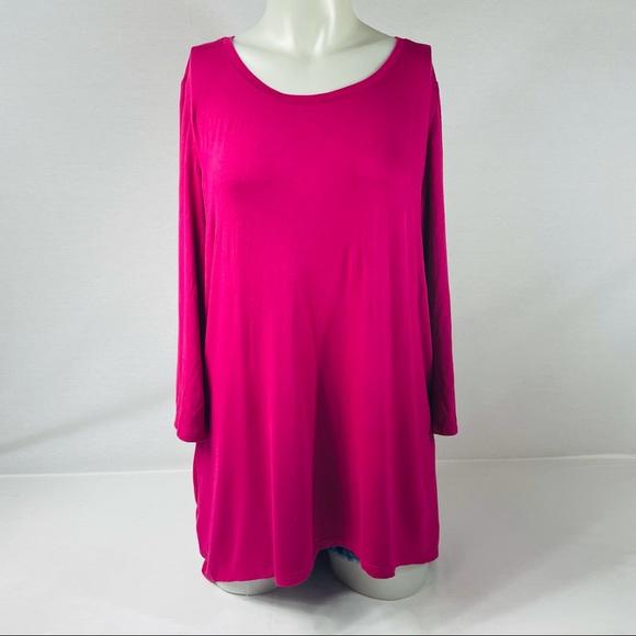 LOGO Pink Scoop Neck Flowy Tunic L